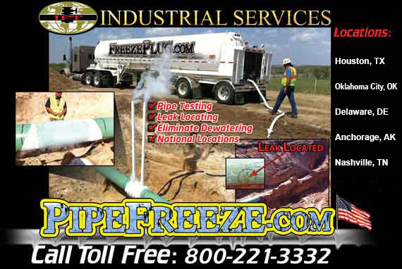 Industrial pipeline freeze plug services